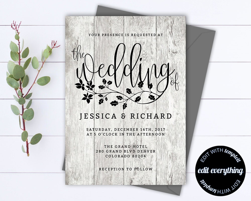 rustic wedding invitation template country wedding template