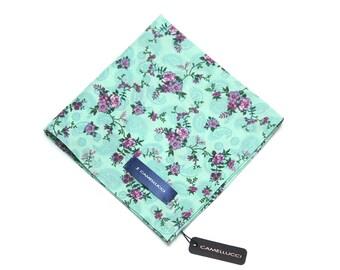 Men's Floral Cotton Pocket Square Handkerchief Hanky Hankie Squares Ties Necktie Tie Suits Men