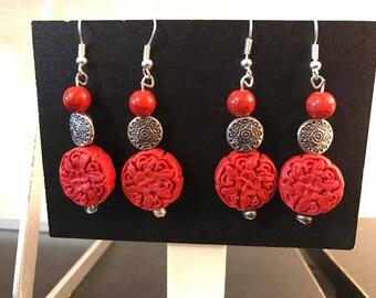 Rustic Red Rose Earrings