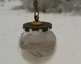 Glass Globe feather necklace