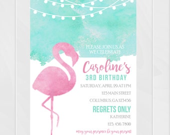 Girl's Flamingo Watercolor Blue and Pink Birthday Invitation