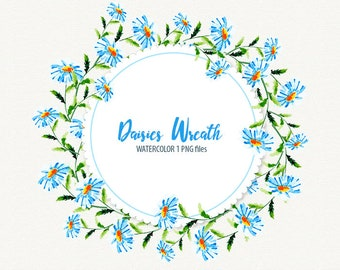 daisies wreath, Daisy, Chamomile, watercolor daisy, daisy clipart