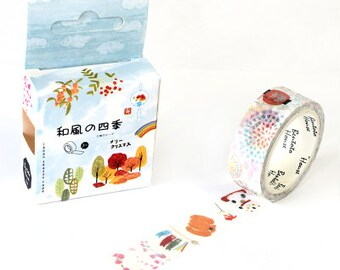SEASONS Japanese Washi Tape, Masking Tape, Planner Stickers,Crafting Supplies,Scraping Booking,Adhesive Tape,Deco Tape,Floral Washi Tape
