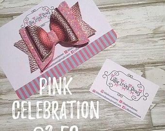 Pink celebration hair bow
