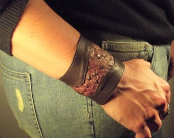 leather inlay ostrich leather Cuff Bracelet
