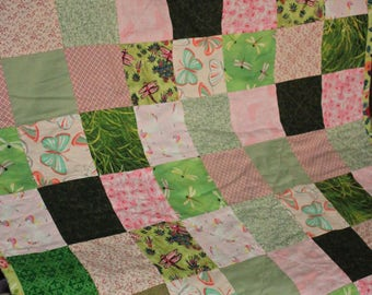 Pink and Green Quilted Dream!  Butterflies, Dragonflies and Birdies, oh my! Baby blanket, scrap quilt, vintage