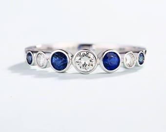 Round Brilliant diamond Wedding band white gold Minimalist Blue Sapphire Dainty half eternity band bezel set Simple Promise Match band