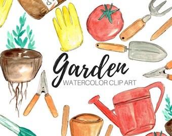 Garden Clip Art - Watercolor Clip Art - Spring Clip Art - Commercial Use