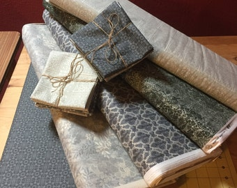fat Quarter Bundle, quilting fabric bundle, grey green fabric, 100% cotton, Inprint Jane Makower - Lace Stories