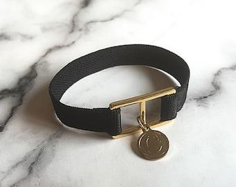 Black Initial Banding Bracelet