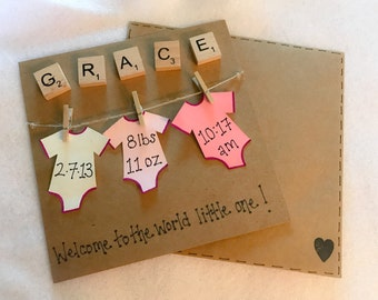 Baby card, personalised blue or pink scrabble tile greeting card - free postage to UK