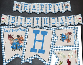 Little Blue Truck Banner, Little Blue Truck Happy Birthday Banner, Little Blue Truck Printables, party, favors, birthday supplies, flags