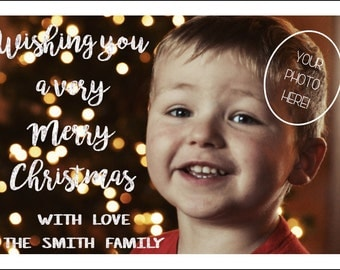 Wishing you a Very Merry Christmas card, customized with photo and names, and then ready to download