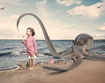 Girl & Octopus Print