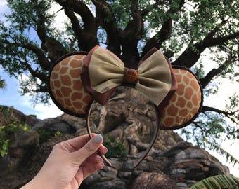 Giraffe Minnie Mouse ear, animal kingdom ears, safari inspired ears, brown bow, disney parks