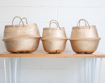 Yellow Gold Seagrass Belly Basket - Belly Baskets