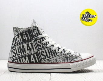 Sum 41 painted custom converse shoes handmade punk rock style