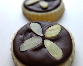 Almond Dark Chocolate Iced Shortbread Cookies