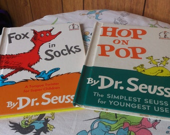 Two Vintage Dr. Seuss Books Hop on Pop Fox In Socks 1963 1965