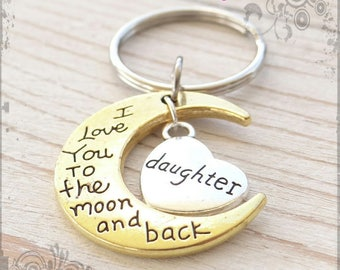 I love you to the moon and back, Daughter, Moon Charm, Moon Keychain, Cresent Moon charm