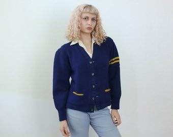 70s Varsity Sweater // Vintage Striped Wool Letterman Cardigan Mens Womens - Medium to Large