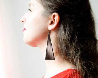 ARASHIYAMA geometric everyday earrings / triangle wooden drop earrings / laser cut earrings