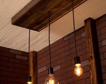 Pendant Chandelier, Kitchen Island/open plan house Lighting, Reclaimed Wood Light Fixture.