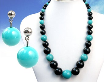 Turquoise/Black Glass Bead Necklace Set