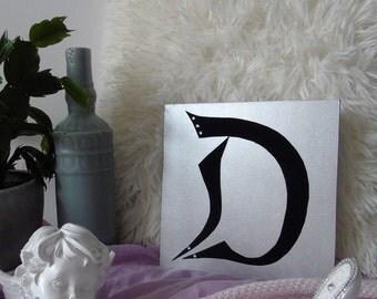 D - letter on wood, wooden letter, made hand, handmade, gift, present, gold or silver, gold or silver, black velvet, black velvet, rhinestones
