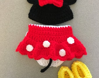 Crochet Minnie mouse photoshoot prop outfit