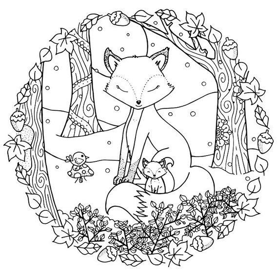 ADULT COLORING PAGE Christmas Winter Woodland Cosy Foxes Adult