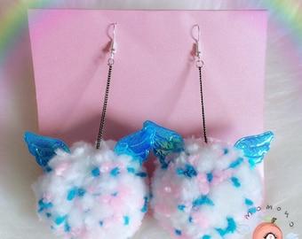 Cute big angel pompom earrings pastel fairykei