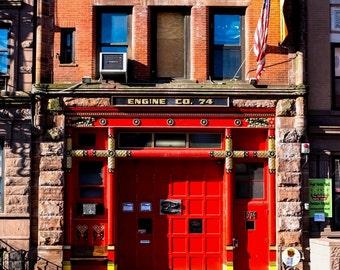 Fire Station in New York, Vibrant Colour Buildings in New York, New York Street Scene, Colour Poster New York, Fine Art Print, Poster