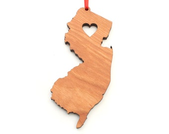 Heart New Jersey Christmas Ornament - NJ State Shape Ornament with Christmas Heart Cutout - New Jersey Ornament Design by Heart State Shop