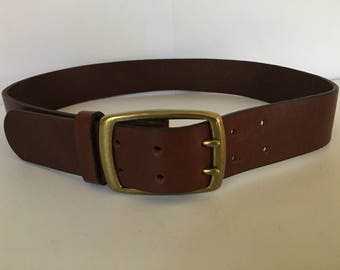 """Vintage men's structure brand western style wide thick brown leather belt size 30"""" brass buckle made USA double belt holes buckle"""