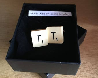 Gift Boxed Vintage Cream Scrabble Tile Cufflinks