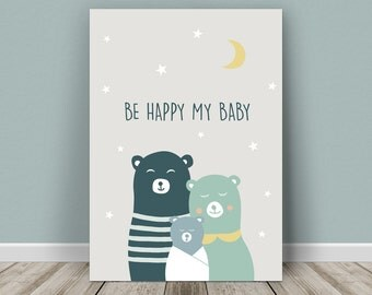 Personalised baby print bear's family for a boy