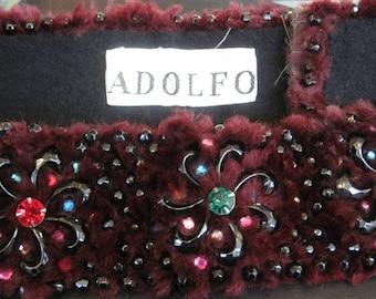 Vintage Adolfo Fur & Jewels Belt