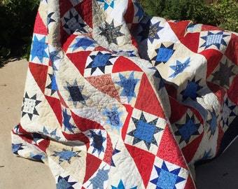 Red, White and Blue Quilt; Patriotic Quilt; Stars and Stripes Quilt; Red, White and Blue Queens size Quilt; Patchwork Quilt; Star quilt;
