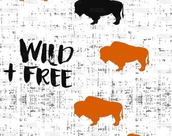Wild and Free Buffalo Fabric by littlearrowdesigncompany