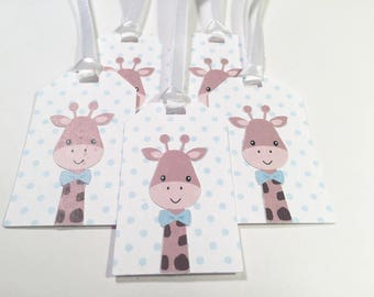 Blue & White Giraffe Gift Tag with White Ribbon, Set of 5 #2023