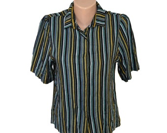 Vintage Rudnik striped multicolor women shirt Made in Yugoslavia size 40