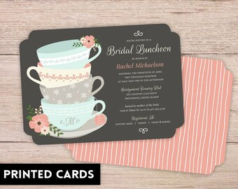 Bridal Shower Invitations, Bridal Shower Invitation, Personalized, Shower Invites, whimsical tea cups