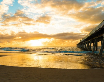 Gold Coast Beach and Pier at Sunrise, Australia - Photography Print