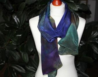 Silk scarf, Chrepe de Chine, hanbemalt, blue, green, rust