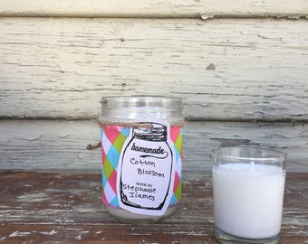 Soy Candle/ Cotton Blossom/ Mason Jar Candle/ Spring Scent/ Cotton Scent