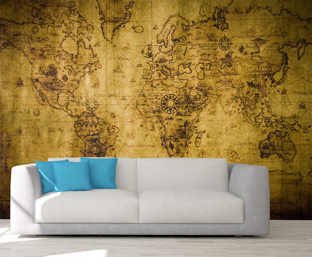 Map Of Years Past Peel & Stick Wall Mural, Photo Wallpaper, Eco ...