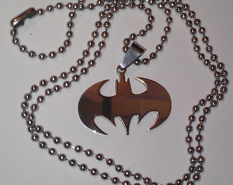 Batman Symbol Necklace or Keychain Silver Color