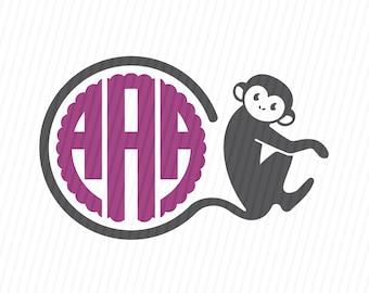 Monkey SVG, Monkey Silhouette, Monkey Monogram SVG, SVG Files, Silhouette Files, Cricut Files
