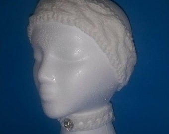 White Cable Knit Headband